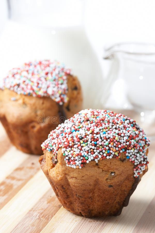Download Fresh muffins with milk stock image. Image of bakery - 11865347