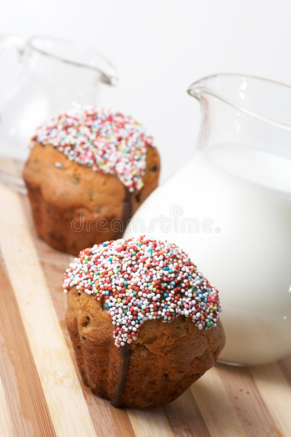 Download Fresh muffins with milk stock photo. Image of food, glass - 13762764