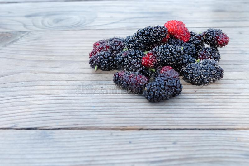Fresh Mulberry fruits on wood background, ..Mulberry with very useful for the treatment and protect of various. Fresh Mulberry fruits on wood background stock photos
