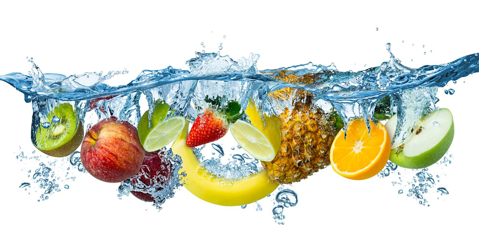 Fresh multi fruits splashing into blue clear water splash healthy food diet freshness concept isolated white background stock photos