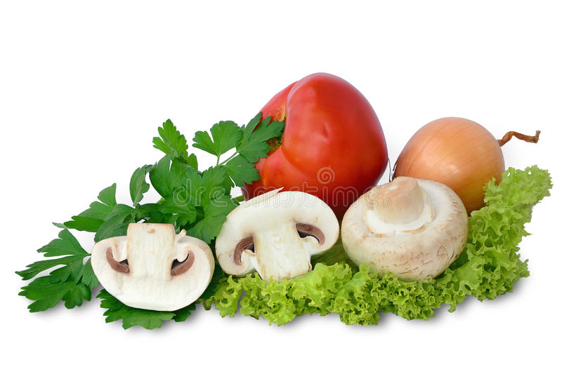 Fresh mushrooms with vegetables royalty free stock photo