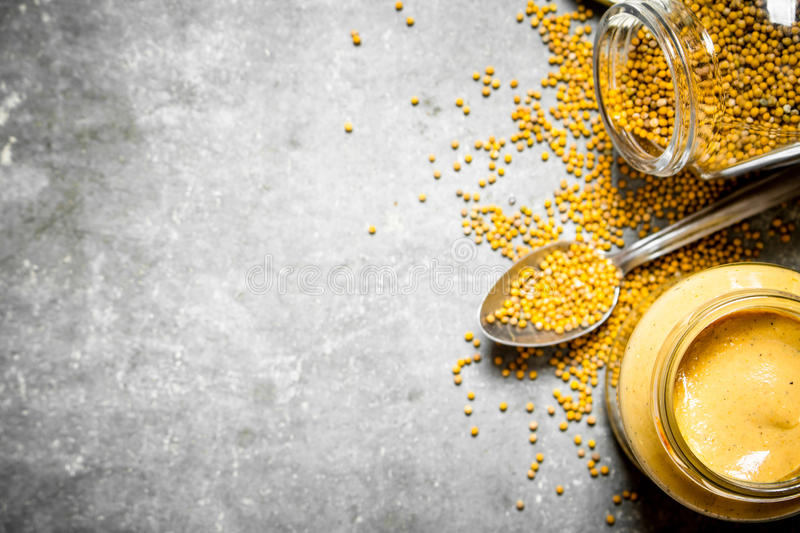 Fresh mustard with seed. stock photo