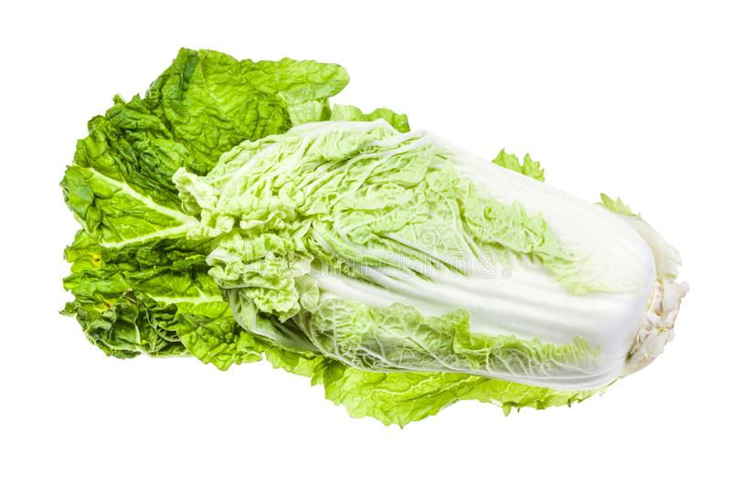 fresh Napa cabbage on green leaf isolated on white royalty free stock image