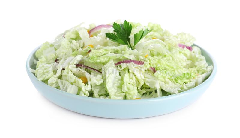 Fresh napa cabbage salad in plate on white. Fresh napa cabbage salad in plate isolated on white stock photos