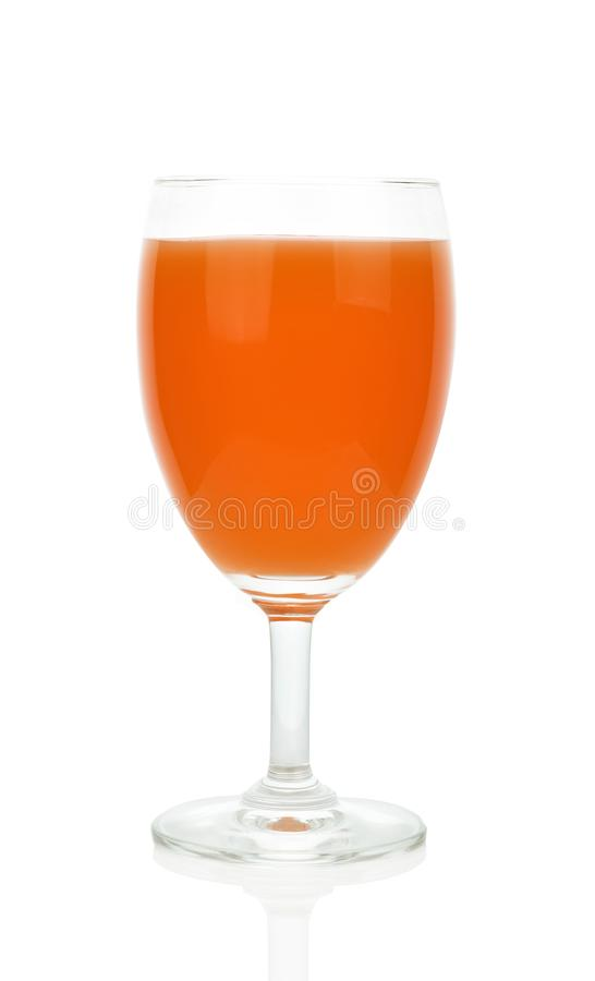 Fresh natural carrot juice on table. Healthy drink. stock photo
