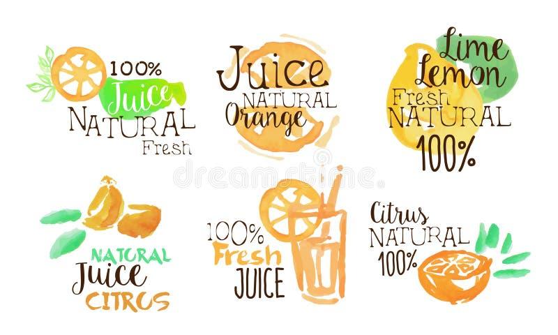 Fresh Natural Citrus Juice Labels Set, Orange, Lime, Lemon Juice Badges Hand Drawn Watercolor Vector Illustration royalty free illustration