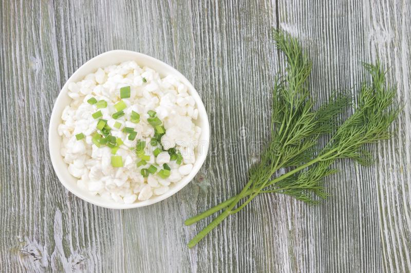 Fresh natural cottage cheese in a white ceramic bowl on the green wooden table. Green dill. Organic eco healthy meal, dairy stock photos