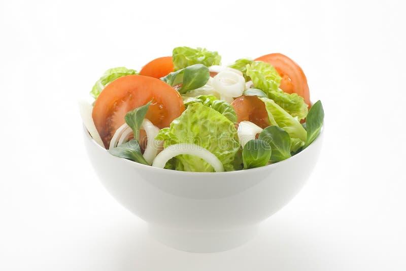 Fresh natural salad bowl tomato lettuce onion royalty free stock photo