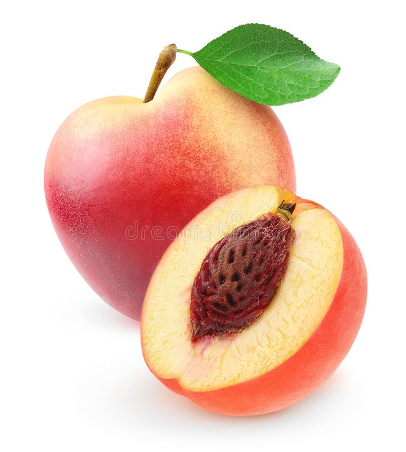 Fresh nectarine peach. Isolated on white royalty free stock photography