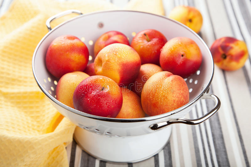 Download Fresh Nectarines And Plums In Colander Stock Photography - Image: 30833692