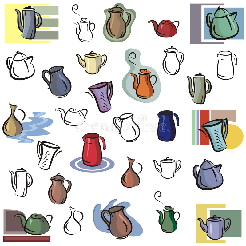 Fresh object series. A set of vector icons of teapots, kettles and jugs in color, and black and white renderings
