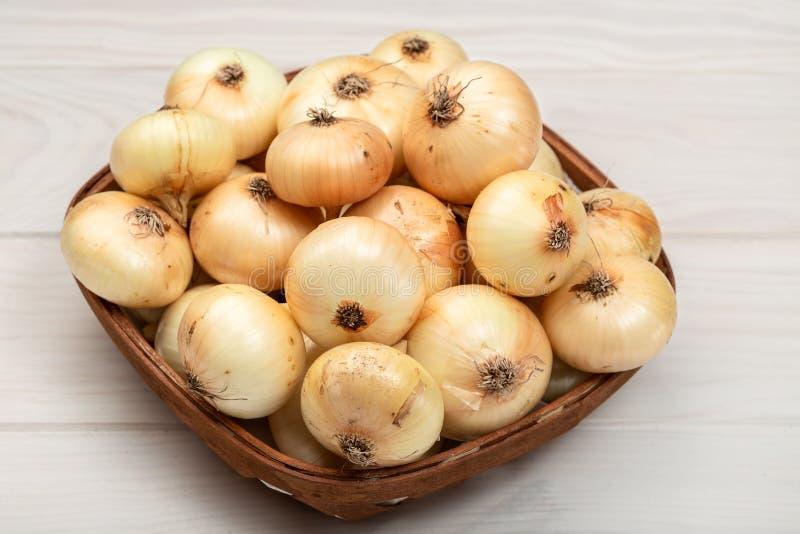 Fresh Onions on basket royalty free stock photo