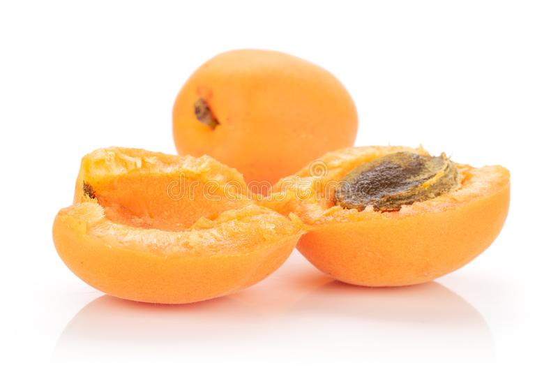 Fresh orange apricot isolated on white. Group of one whole two halves of meaty fresh deep orange apricot with a stone isolated on white background stock photos