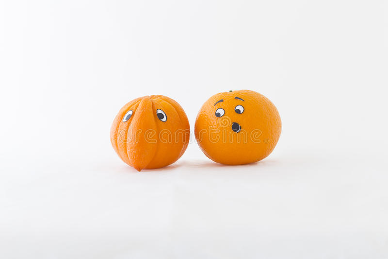 Fresh orange with big nose royalty free stock images