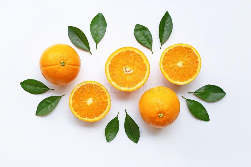Fresh orange citrus fruit isolated. On white background royalty free stock image