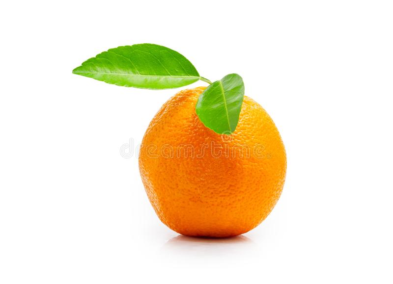 Fresh orange fruit with green leaf isolated on white background. File contains a clipping path. Close up fresh orange fruit with green leaf isolated on white stock photo