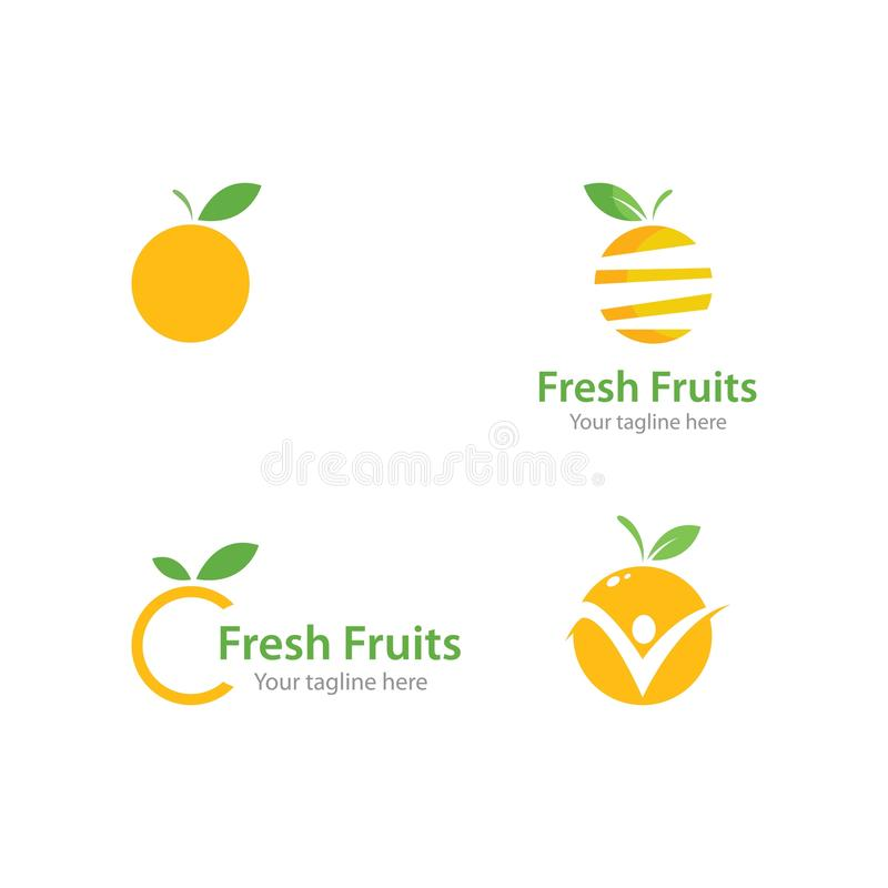 Fresh Orange fruits logo. Ilustration vector template, icon, illustration, food, design, juice, background, symbol, citrus, healthy, leaf, natural, isolated royalty free illustration