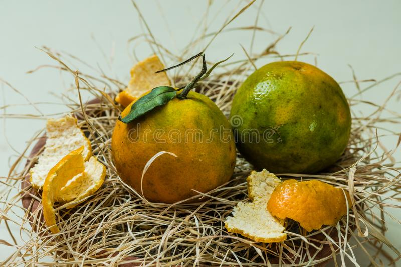 Fresh Orange fruits and pulp. Fresh Organic Orange fruits with pulp and grasses stock image