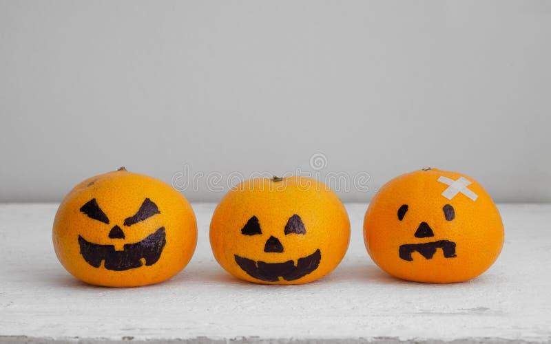 Fresh Orange with Head Pumpkins haunted spooky face easy DIY d stock photo