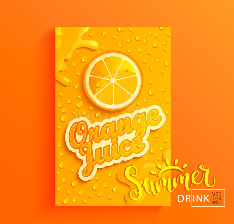 Fresh orange juice. Fresh orange juice banner with drops from condensation, splashing and fruit slice on gradient hot summer background for brand,logo, template royalty free illustration