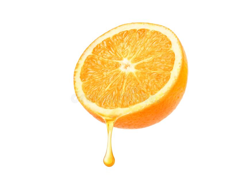 Fresh Orange juice dripping. Isolated on white background. Clipping path stock photography