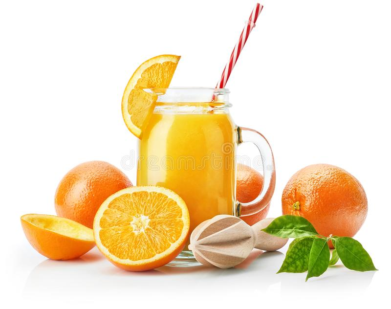 Fresh orange juice with fruit and green stock photography