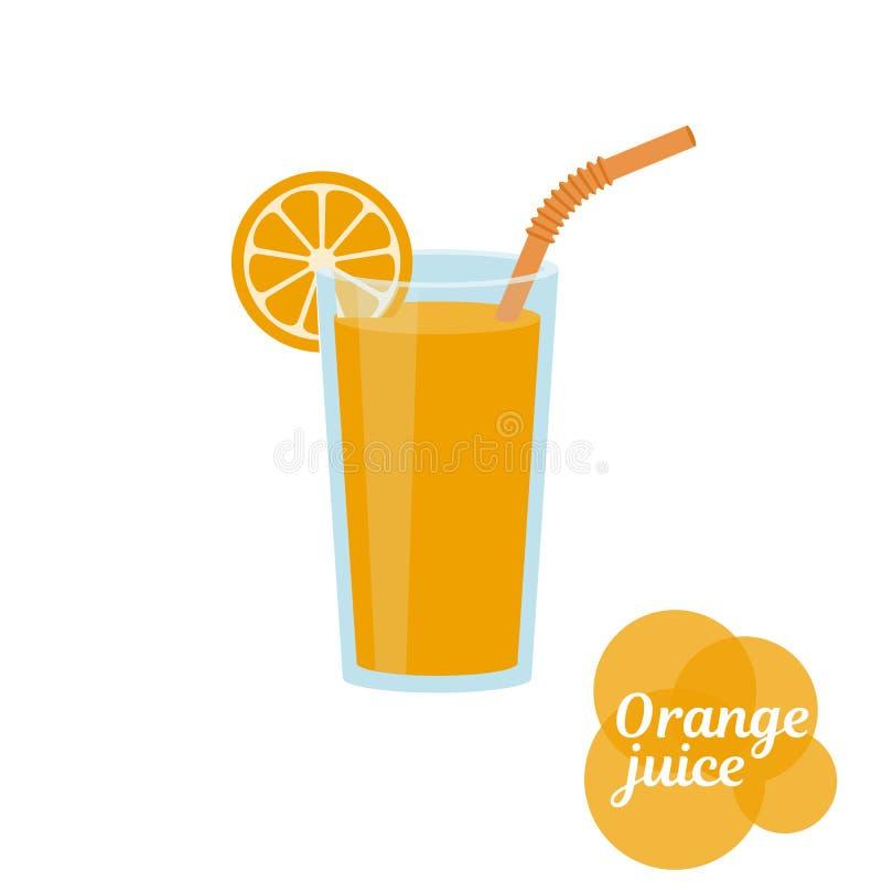 Fresh orange juice in glass. Natural fresh orange juice in a glass. Orange slice, tube for drinking. Healthy organic food. Citrus fruit. Vector illustration flat stock illustration