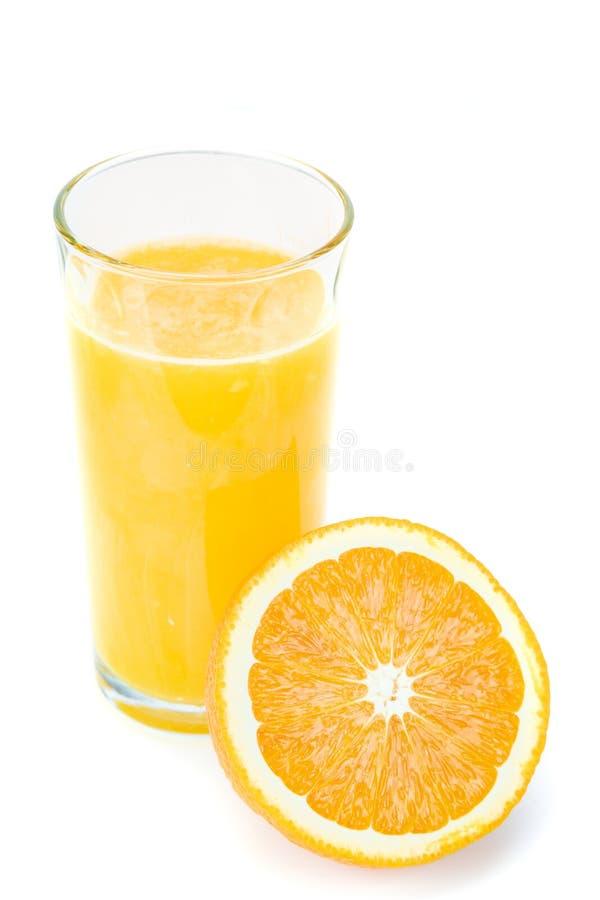 Fresh orange juice and half orange isolated on white background stock image