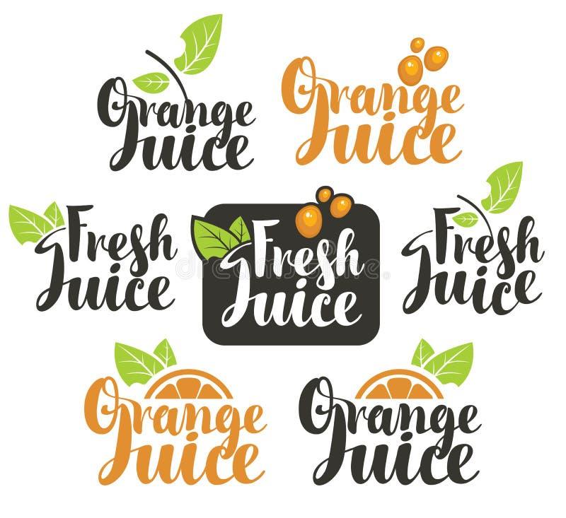 Fresh orange juice. Set vectors logo on fresh orange juice royalty free illustration