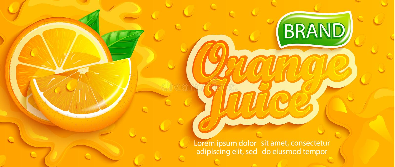 Fresh orange juice splash banner with apteitic drops. From condensation, fruit slice on gradient orange background for brand,logo, template,label,emblem,store vector illustration