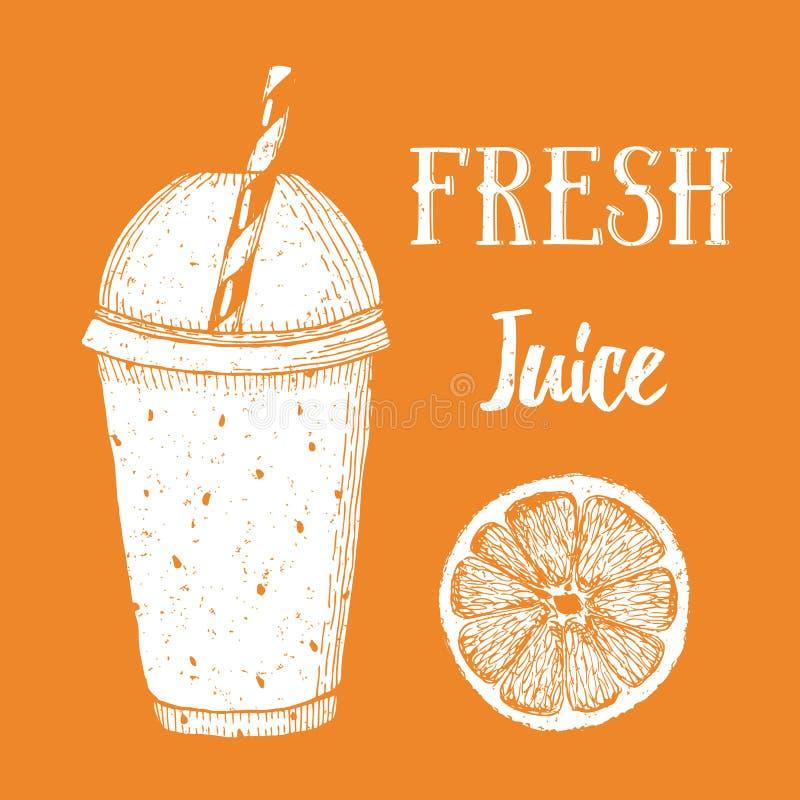Fresh orange juice. In vintage style, vector poster vector illustration