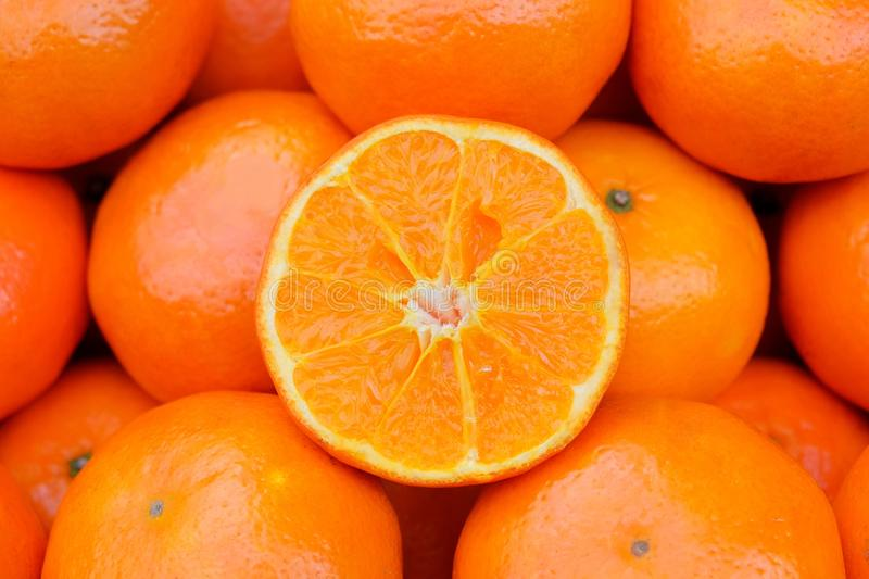 Fresh Orange on the market. Orange is the sacred wood that are important and meaningful, especially for the Chinese New Year festival. This image focus at stock photo