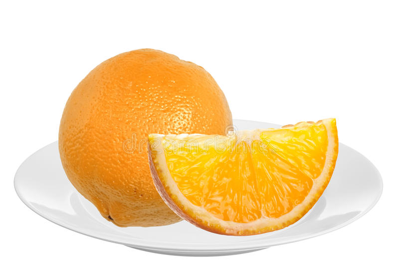 Fresh orange on plate isolated on white. Background stock photos