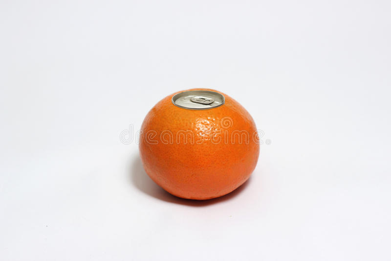 Fresh orange with pop up silver top of a can royalty free stock photos