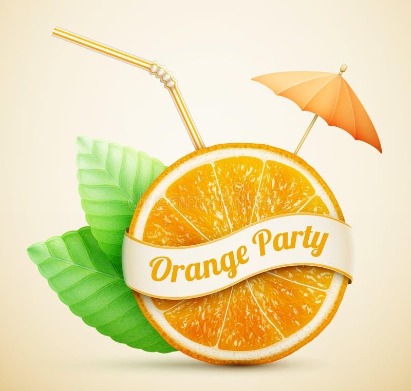 Fresh orange with ribbon and cocktail stick. Eps10 vector illustration stock illustration