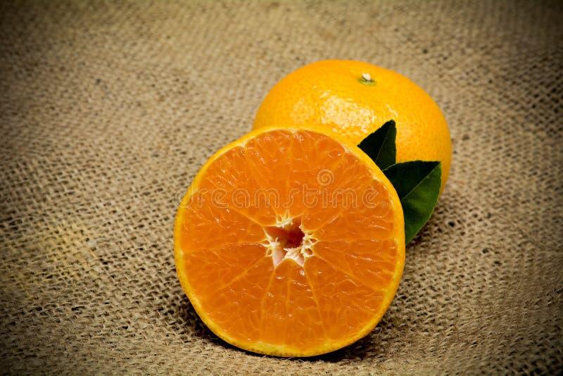 Orange on sack fabric. stock image