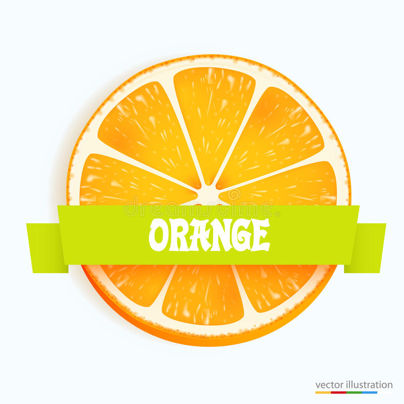 Fresh orange slice with stripe. Vector illustration stock illustration