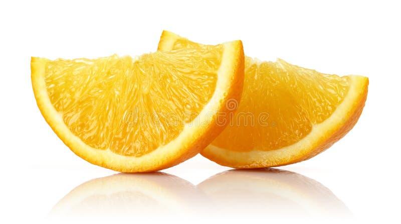 Fresh Orange slices isolated on white stock image