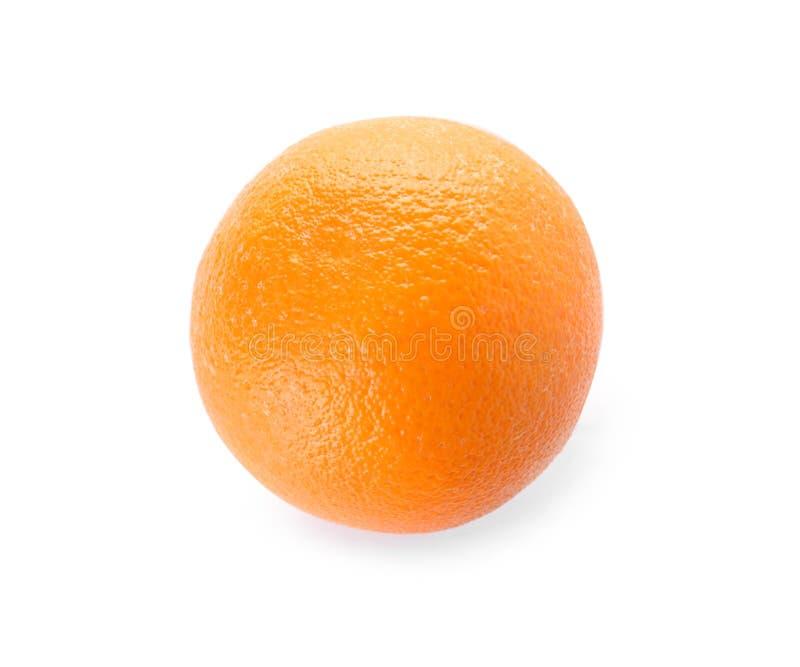 Fresh orange on white background, top view. Healthy fruit stock photo