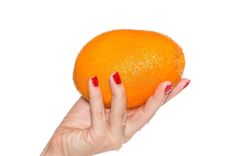 Fresh orange in woman`s hand stock photo