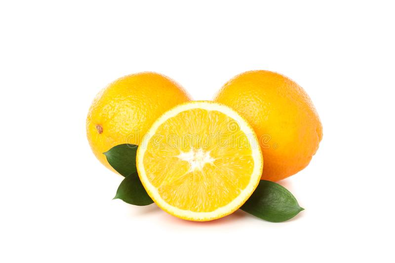 Fresh oranges isolated on white background. Close up stock photo