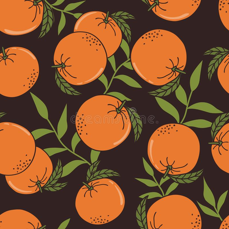 Fresh oranges, leaves, decorative background. Seamless pattern with citrus fruits. Fresh oranges, leaves background. Hand drawn overlapping backdrop. Colorful vector illustration