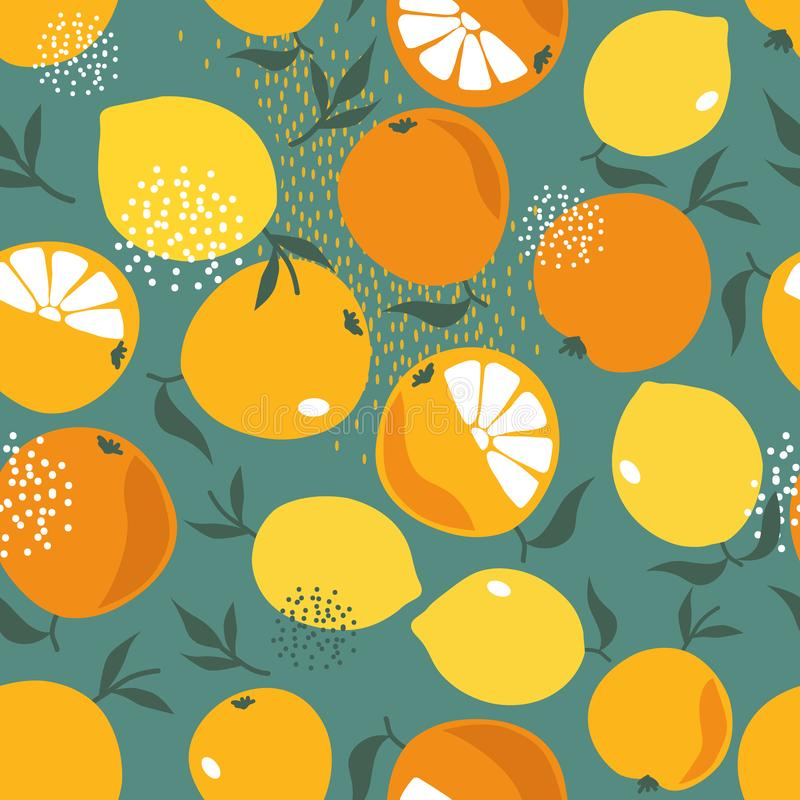 Fresh oranges and lemons, colorful seamless pattern. Fresh oranges and lemons, leaves background. Hand drawn overlapping backdrop. Colorful wallpaper vector stock illustration