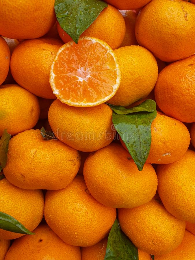 Fresh oranges on the market stock photo
