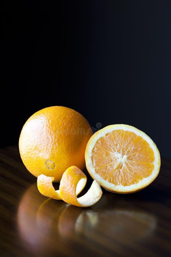 Fresh Oranges and Peel stock photo