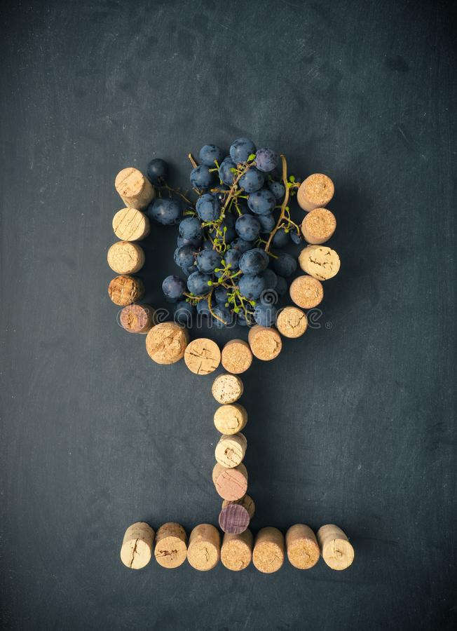 Glass of wine with grapes royalty free stock photography