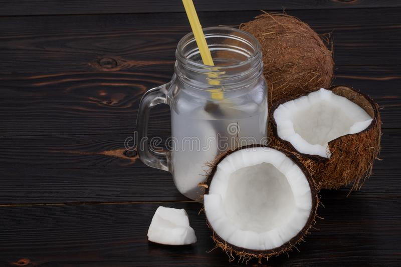 Fresh Organic Coconut Water in a Glass. Food background royalty free stock photography