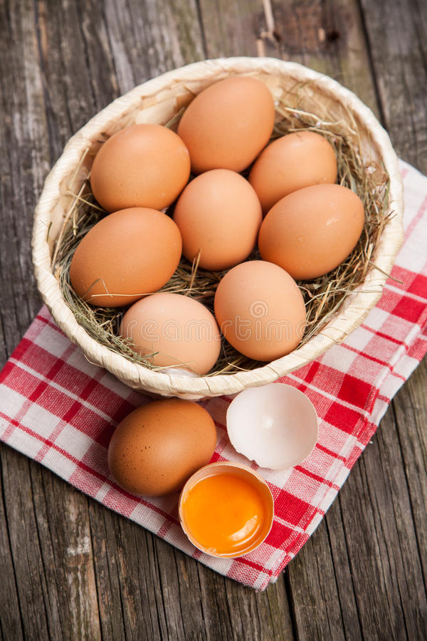 Fresh organic eggs. In a basket stock image