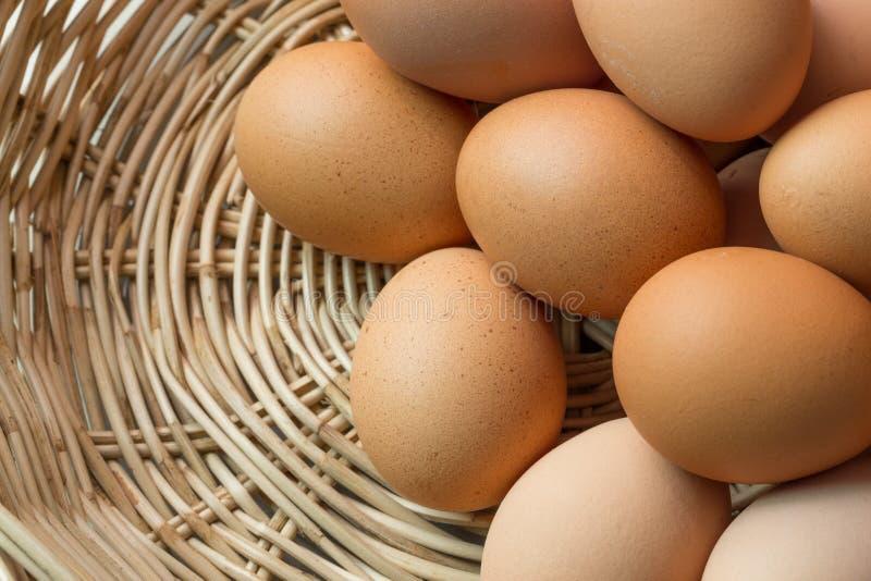 Fresh organic eggs. In a basket royalty free stock photo
