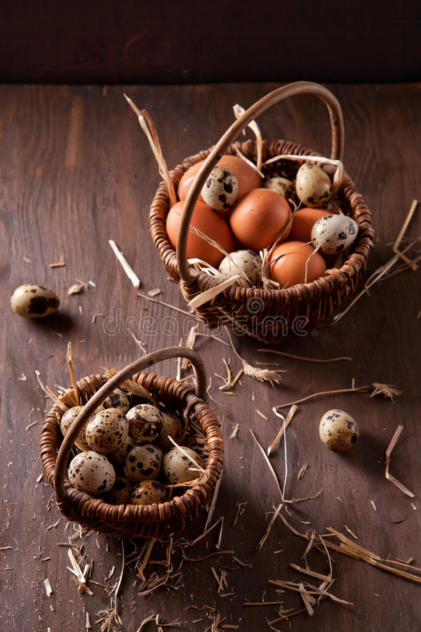 Fresh organic eggs in the basket. Rustic still life royalty free stock photography